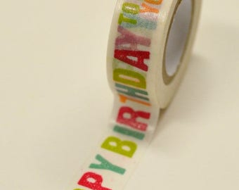 25% Off Summer Sale Washi Tape - 15mm - Happy Birthday to You - Deco Paper Tape No. 859