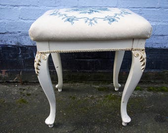 Gorgeous blue and cream vintage needlepoint dressing table piano foot stool