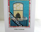 """On Sale: Christmas Card with Pigeon and Christmas Tree on a Fire Escape - Illustration - """"An Urban Christmas"""" - City-theme"""