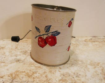 1950s Flour Sifter Bromwell's Red Apple on White