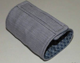 Wrist Wallet, Zippered Wrap Cuff, Hands-free, Secure, Blue White