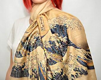 The Great Wave off Kanagawa scarf/shawl