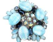 Weiss Large Bermuda Blue Brooch Iridescent Finish