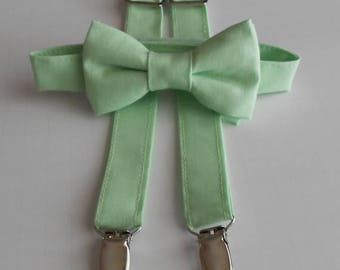 SALE Mint Bowtie and Suspenders Set - Infant, Toddler, Boy            2 weeks before shipping