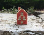 Tiny Ceramic House/ Miniature Red Cottage/ Little Clay House