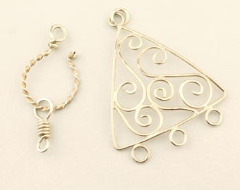 Sterling Silver Pendant and Clasp, Necklace Component, Hook and Eye Clasp,  Beading Supplies Jewelry Findings