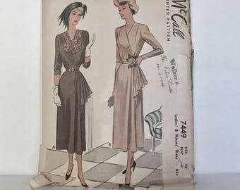 Vintage 1940's Cocktail Dress Pattern, McCalls Pattern 7449 Rare Plus Size - Bust 40 - Long Sleeve Swing Era Dress With Cascading Hip Drape