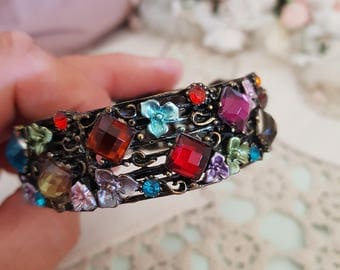 vintage rhinestone bangle, multicoloured bracelet, woodland flowers, elven jewellery