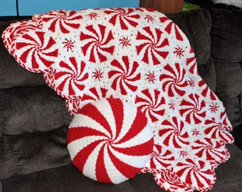 Peppermint Afghan with Pillow