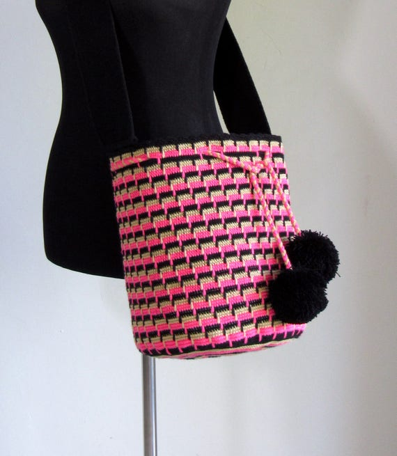 Wayuu mochila cross body bag, hand crocheted bucket bag size large