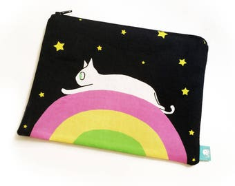 Rainbow Space Cat Zipper Pouch