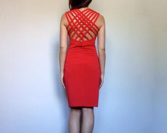 Vintage Bodycon Dress Criss Cross Back Party Dress Caged Back Dress 80s Sweetheart Dress Red Dress - Medium to Large M L