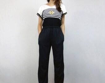 Nautical Jumpsuit Womens Sailor Striped Black Gold White Metallic Playsuit Cutout Back Jumpsuit Pockets - Small S