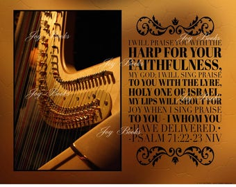 PRAISE HIM With The HARP - Christian Home & Office Decor - Psalm Wall Art - Vintage Verses Inspirational Wall Art - Gold Brown Bronze - Sale