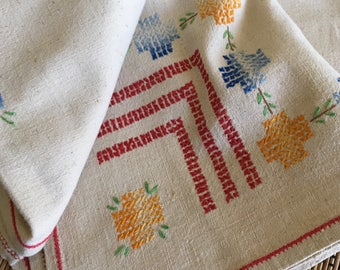 Pretty Primary Cross Stitch:  Vintage Embroidered Table Square, R