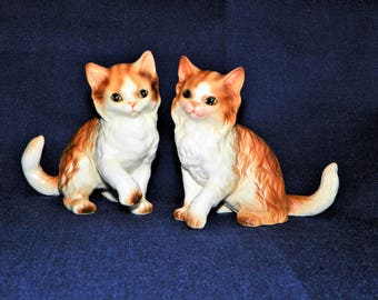"Lefton Playing Kittens, Set of Two Porcelain Orange Tabby Cats, H2942, 3 5/8"" High by 4 1/4"" Long"