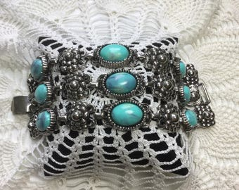 Vintage Chunky Three Row Beaded Costume Bracelet