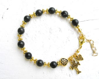 Kilkenny Ireland Black Marble Single Decade GOLD Celtic Heart Irish Trinity Knot Rosary Bracelet-Ireland Jewely