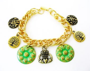 OOAK Golden IRISH Claddagh Celtic Gold Tree of Life Sunflower IRISH Charm Bracelet-Ireland Jewelry