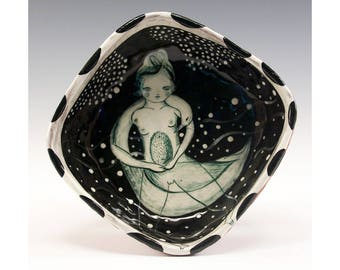 Nude with Swan - Painting by Jenny Mendes in a Black and White Square Ceramic Pinch Bowl Wabi-Sabi Style