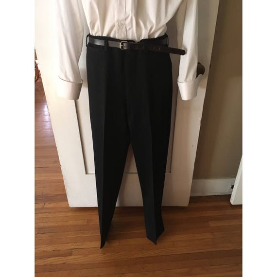 "1940s 1950s Mens Black Suit Pants with Belt Loops & Suspender Buttons-32"" W x 41.5"" L with Room to Let Out"