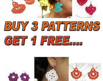 Patterns, Get 1 More Free Pattern, Buy Any 3 Earrings Patterns, Crochet Patterns, Crocheted Earrings,  Green Red Earrings, Free pattern