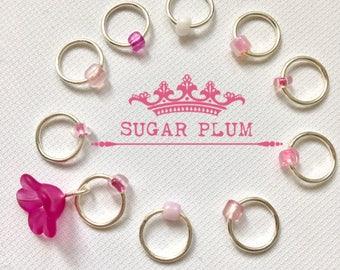 Snag Free ring knitting stitch markers/ringos - SUGAR PLUM