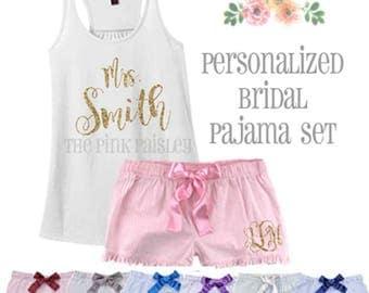 Personalized Bridal Pajama Set | Lingerie Shower Gift | Bride to Be | Seersucker | Honeymoon PJs | Wedding Gift | Womens Boxers
