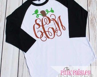 Girls Pumpkin Monogram Shirt | Kids Personalized Halloween Raglan Shirt | Monogrammed Raglan