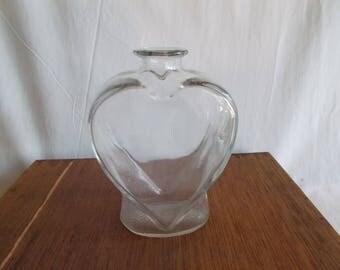 Vintage Glass Heart Flower Vase