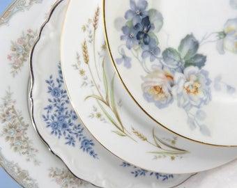 """4 Vintage Mismatched Noritake Fine China 8"""" Cake Plate Set, Dessert Side Salad Plates for Mix and Match,  Blue Floral SP38"""