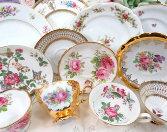 "Fancy 12 Piece Tea Time Trio Set ~ 4 Mismatched Trios include Vintage 8"" Dessert Plates, Tea Cups & Saucers, Pink Floral and Gold on White"