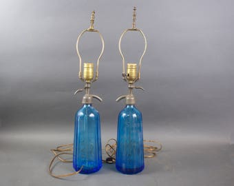 Pair Czechoslovakian Blue Glass Seltzer Water Bottle Lamps  /  S and S Baltimore MD