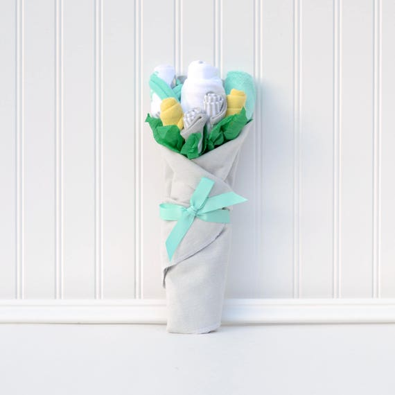 Infant Hospital Gift, Pregnancy Gift, Baby Flower Bouquet, Neutral Baby Gift, New Mom Gift, Flowers for Baby, Mint Yellow Gray Baby Shower