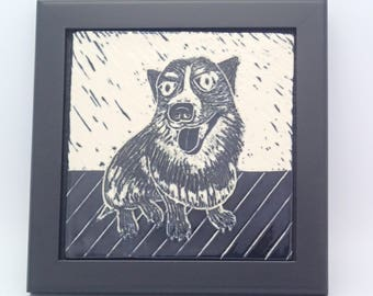 Corgi Art, Framed Ceramic Tile, Art Tile, Wall Tile, Dog Tile, Framed Tile, Black & White Sgraffito Tile, Carved Tile, Dog Lover Gift