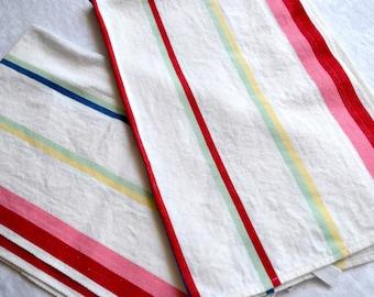 Vintage Kitchen Dish Towels - Cannon Farmhouse Pink Stripe Cotton - 2 NOS