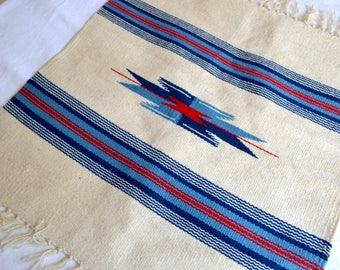 Vintage Ortega's Woven Wool Rug - Never Used With Tags - Small White Red Blue Stripe Design