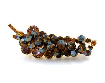 JULIANA Glass Bead Dangle Leaf Brooch | D&E Topaz Rhinestone Pin, Book Piece | Vintage 1960s Jewelry
