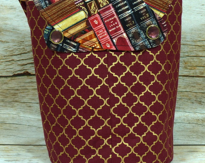 Gilded Books -Small Llayover Knitting Tote/ Knitting, Spinning, Crochet Bag