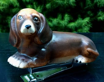 Vintage Doxie Dachshund Dog Figural Statpler