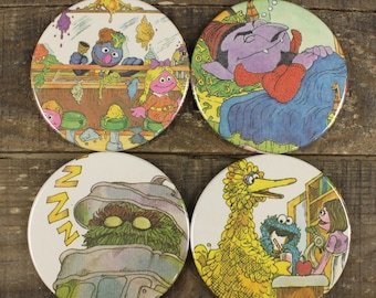 Sesame St  Grover Kid's Book Coaster Set of Four Coasters Vintage Recycled Upcycled