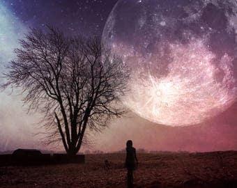 full super moon photo, surreal landscape bare tree photo, silhouette woman home decor night sky farm autumn supermoon astrology pink purple