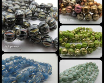 Melon Beads, Choice of Melon Beads, Czech Glass Melon Beads, 6mm melonss, czech glass, czech beads