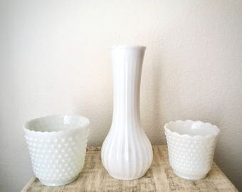 Vintage Milk Glass Large Vase Trio
