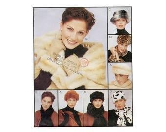 1990s Faux Fur Accessories Pattern Hats Headband Scarf Stole Cuffs Trim Winter Wardrobe Accessories Fake Fur McCalls 9659 Sewing Pattern