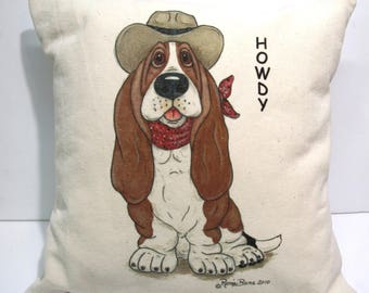 "Basset Hound Western Accent Pillow - ""Howdy"""