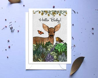 Baby card, greeting card, new baby, Hello Baby, baby animals, botanical baby card, congratulations, Baby Shower card, new parents,succulents