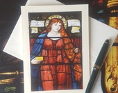 Mary Magdalene - Fine Art Note Card of Antique Stained Glass Window, Greeting Card, Birthday Card, Blank Greeting Card, Thank You Card