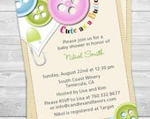 Sale Cute As A Button   Baby Shower Invitation   Professionally Printed  *or* DIY Printable PDF