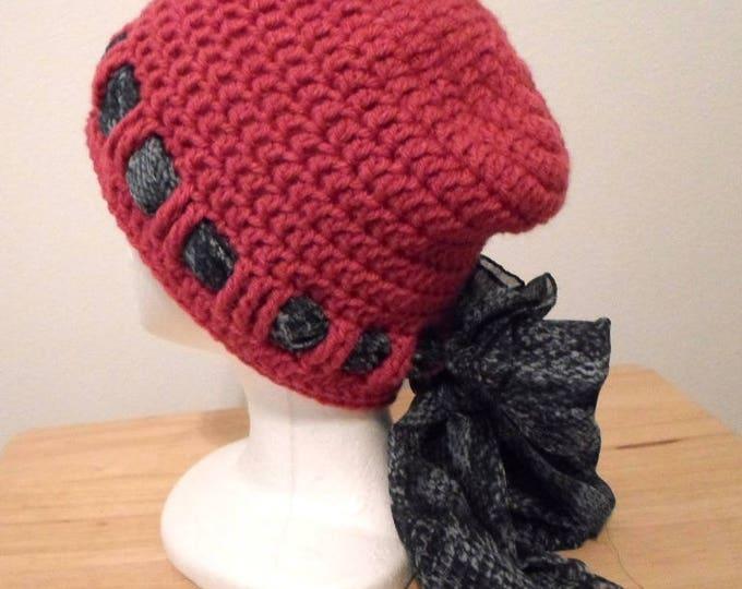 Crochet Hat - Crochet Cap in Red Acrylic Yarn - Chemo Cap - Slouchy Hat